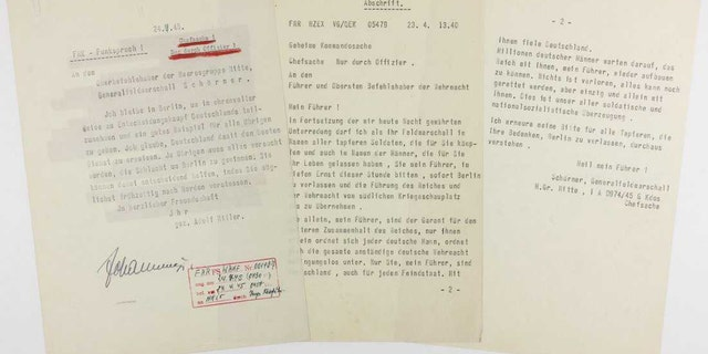 Adolf Hitler's final letter to Ferdinand Schörner, revealing that he would stay in Berlin, dated April 24, 1945. Schörner wrote a letter, dated April 23, 1945, pleading with Hitler to leave Berlin. (Credit:Alexander Historical Auctions)