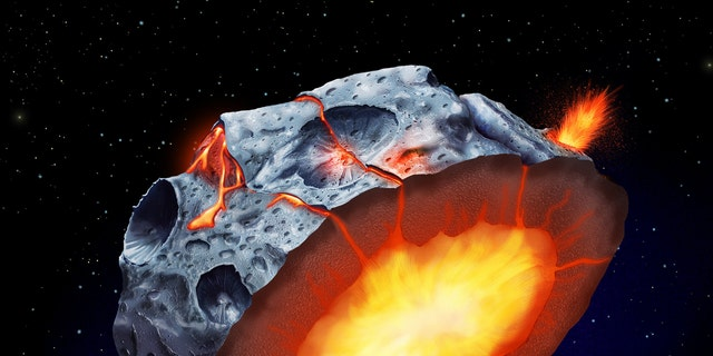 As a metallic asteroid such as Psyche cooled and solidified, iron volcanoes may have erupted onto its surface. (Credit: Elena Hartley)