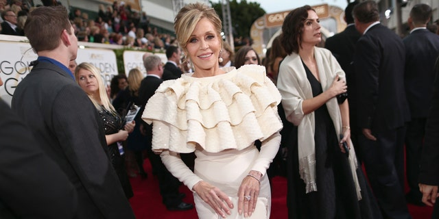 Actress Jane Fonda arrives at the 73rd Annual Golden Globe Awards held at the Beverly Hilton Hotel on January 10, 2016.