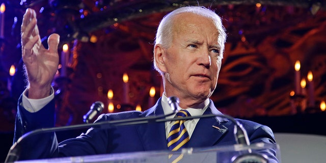 President Joe Biden speaks at the Biden Courage Awards Tuesday, March 26, 2019, in New York. Biden released his first tranche of judicial nominees on Tuesday. (AP Photo/Frank Franklin II)