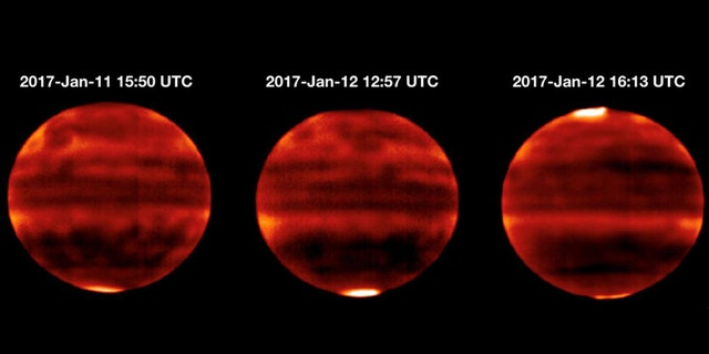 Sensitive to Jupiter's stratospheric temperatures, these infrared images were recorded by the Cooled Mid-Infrared Camera and Spectrograph (COMICS) at the Subaru Telescope on the summit of Mauna Kea, Hawaii. Areas that are more yellow and red indicate the hotter regions. (Credit: NAOJ and NASA/JPL-Caltech)