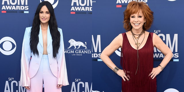Some viewers were upset when Kacey Musgraves, left, appeared to be bored during Reba McEntire's performance at the ACM Awards on April 7, 2019.
