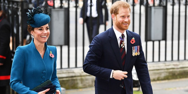Kate Middleton and Prince Harry attended service of commemoration and thanksgiving to mark Anzac Day in Westminster Abbey in London on April 25 amid rumors of a royal family feud between Prince William and Prince Harry over Meghan Markle.