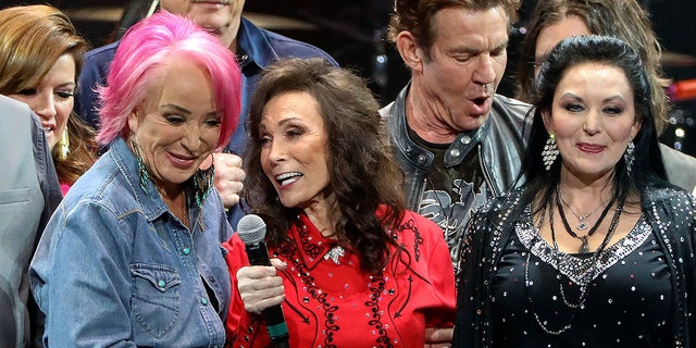 Loretta Lynn, center, Tanya Tucker, left, and Crystal Gayle perform at Loretta Lynn's 87th Birthday Tribute at Bridgestone Arena on Monday, April 1, 2019.