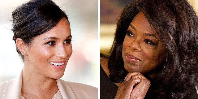 Duchess of Sussex Meghan Markle, left, and Oprah Winfrey. (Getty Images/AP)