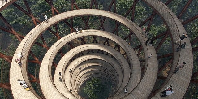The Treetop Experience is a spiraling walkway that passes through the Gisselfeld Klosters Skove.