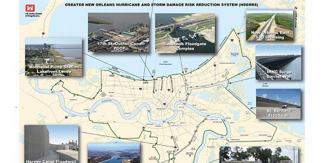 A look at the system of levees, floodgates and pumping stations that are supposed to keep New Orleans safe should a major storm hit. (Army Corps of Engineers)