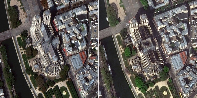 Recently released satellite pictures also shows the extensive fire damage to Notre Dame; pictured left is the cathedral in September 2018; pictured right is April 17, 2019.