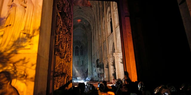 General view from the entrance of Notre Dame cathedral in Paris, Monday, April 15, 2019 after the fire engulfed its upper reaches