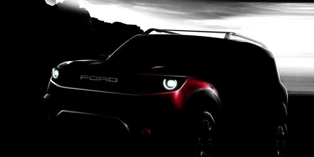 "Ford released this teaser image of the ""baby Bronco"" last year."