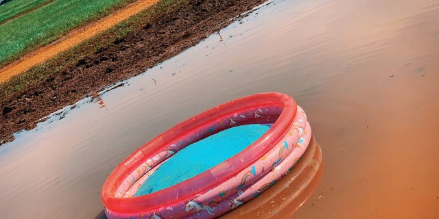 An deserted kiddy pool left during a Talladega Superspeedway.