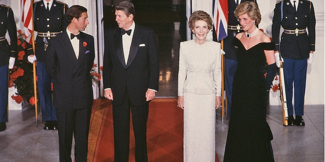 Charles, Prince of Wales, and his wife Lady Diana, Princess of Wales, are welcomed at the White House by American President Ronale Reagan and his wife Nancy in November 1985.