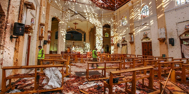A view of St. Sebastian's Church damaged by a suicide bombing in Negombo north of Colombo, Sri Lanka.