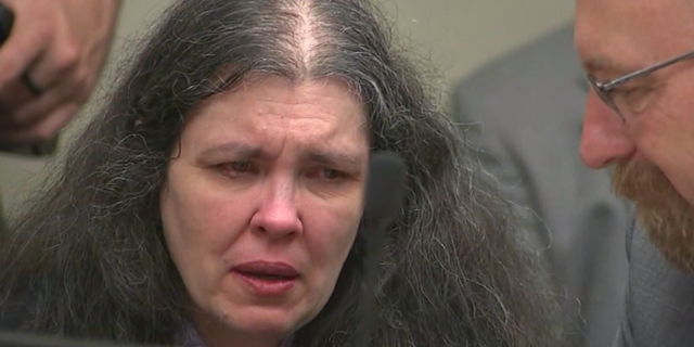 Louise Turpin is emotional in court Friday, April 19, 2019.