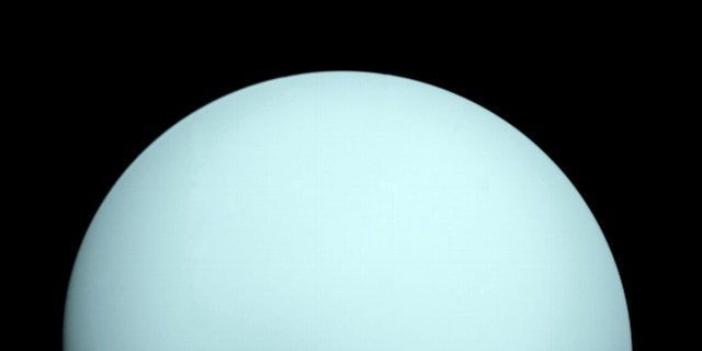 This is an design of a world Uranus taken by a booster Voyager 2, that flew closely past a seventh world from a Sun in Jan 1986. (Credit: NASA)