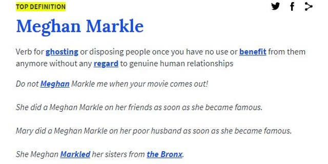 Meghan Markle added to Urban Dictionary as slang for