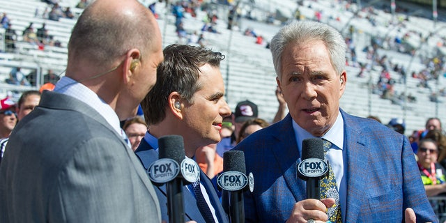 Jeff Gordon (center) partners with Waltrip (right) on the Fox Sports broadcasts.