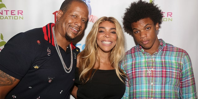 Kevin Hunter, left, Wendy Williams, center, and son Kevin Hunter Jr, right, pose at a celebration for The Hunter Foundation Charity that helps fund programs for families and youth communities in need of help and guidance at Planet Hollywood Times Square on July 11, 2017 in New York City.