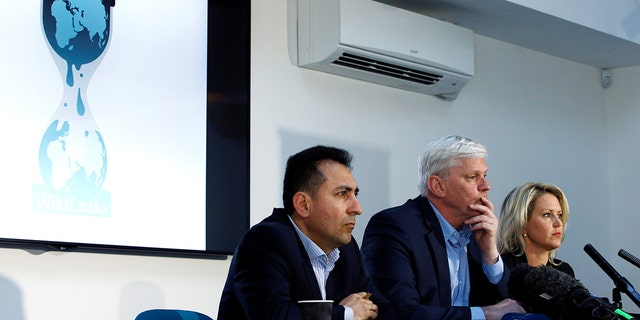 Former Consul of Ecuador to London Fidel Narvaez, WikiLeaks editor in chief Kristinn Hrafnsson and barrister Jennifer Robinson hold a news conference relating to WikiLeaks founder Julian Assange in London, Britain April 10, 2019.
