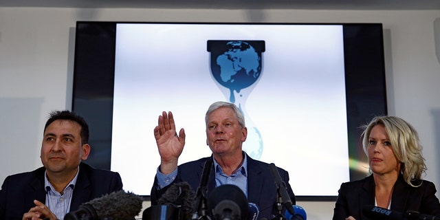 Former Consul of Ecuador to London Fidel Narvaez, WikiLeaks editor in chief Kristinn Hrafnsson and barrister Jennifer Robinson held a news conference relating to WikiLeaks founder Julian Assange in London, Britain April 10, 2019.