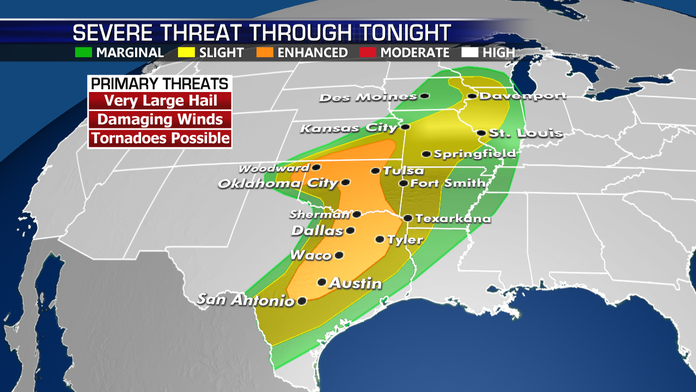 Severe storms to hit Central and Southern Plains, Midwest
