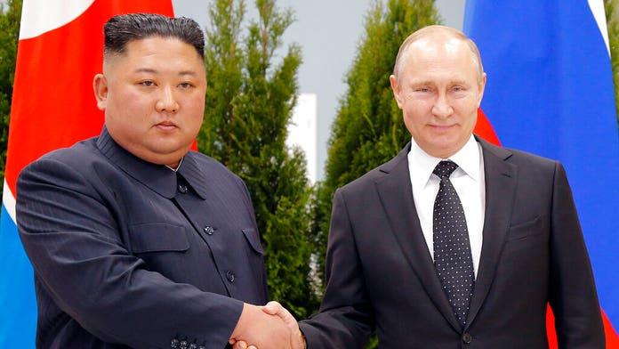 Putin, Kim Jong Un shake hands as Russia hosts North Korean leader for first summit