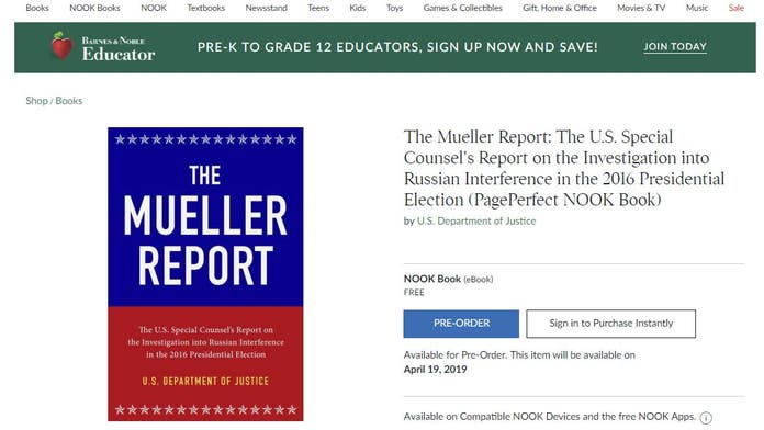 Barnes & Noble offers free Mueller report download