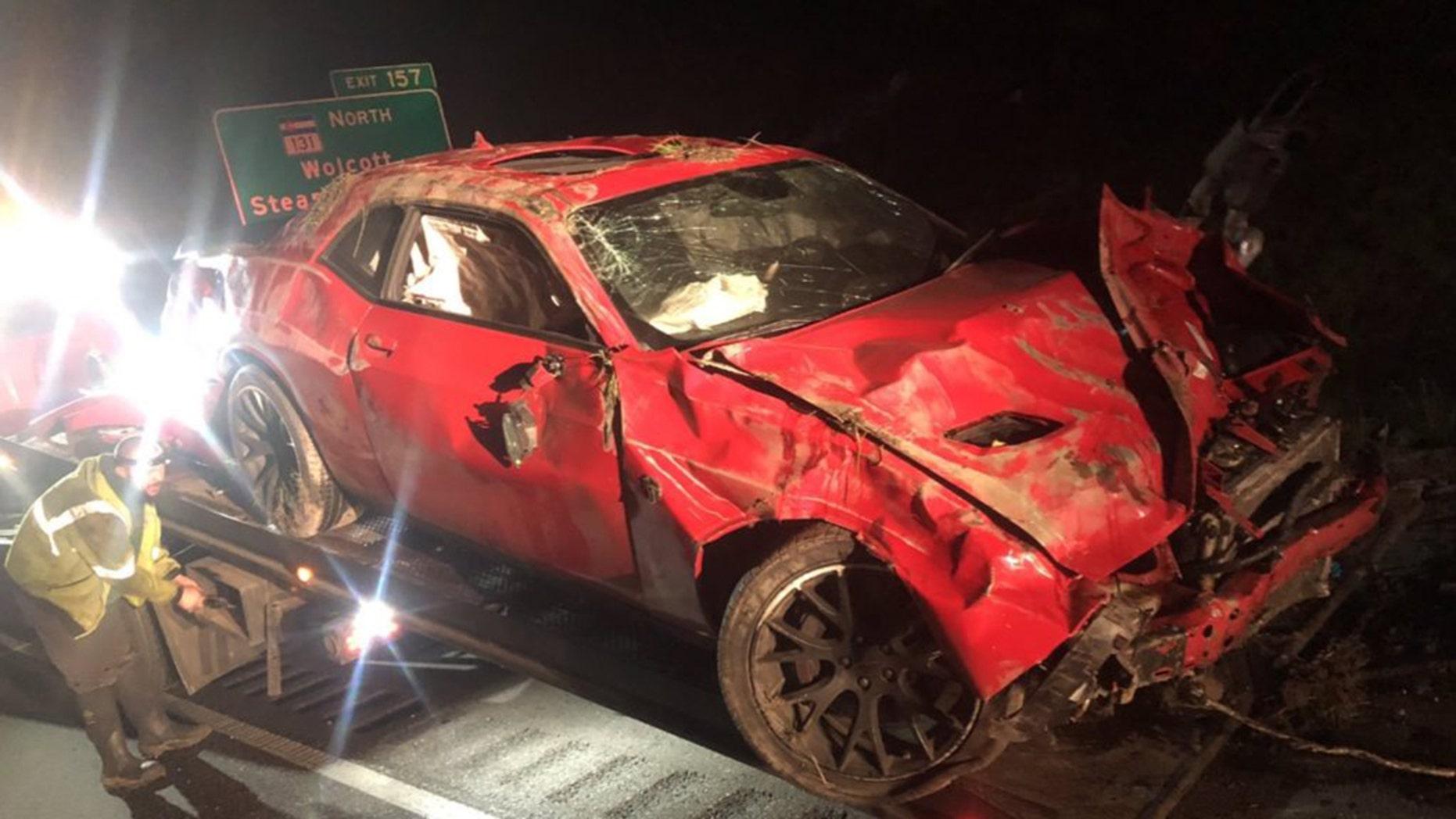Wrecked Dodge Challenger Hellcat