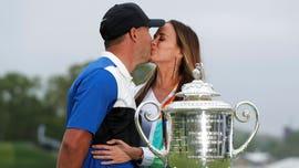 Brooks Koepka shuts down girlfriend's kiss attempts during PGA Championship