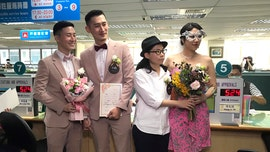 Hundreds of couples tie the knot after Taiwan legalizes same-sex marriage