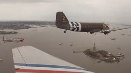Geico Skytypers air team pays tribute to armed forces ahead of Memorial Day with Statue of Liberty flyby