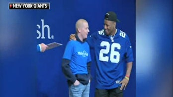 New York Giants' Saquon Barkley surprises Make-A-Wish teen at draft party