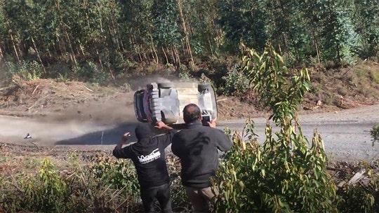 World Rally Championship driver survives dramatic barrel roll