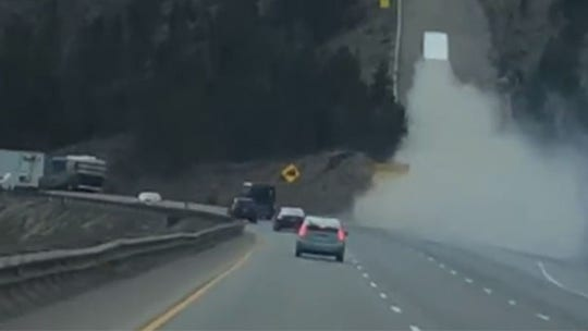 Smoking semi driving up runaway truck ramp in Colorado caught on camera