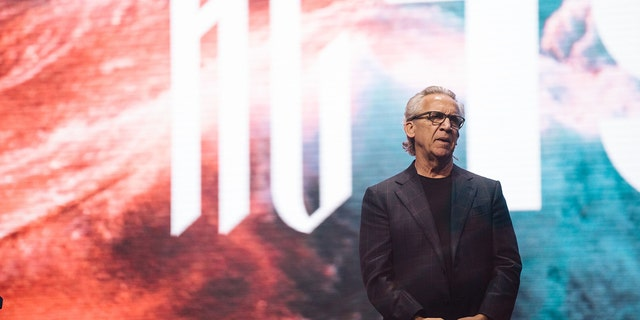 "Bethel Church Senior Lead Pastor Bill Johnson addressing the ""Heaven Come"" conference on the opening night in Los Angeles."