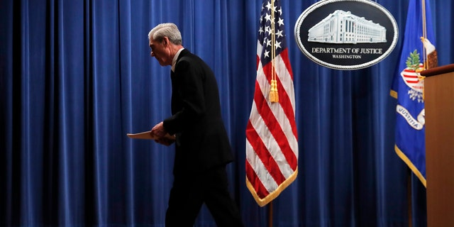 Special counsel Robert Mueller walks from the podium after speaking at the Department of Justice Wednesday, May 29, 2019, in Washington, about the Russia investigation. (AP Photo/Carolyn Kaster)