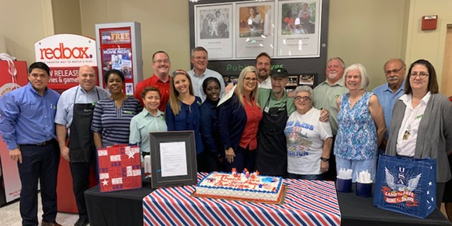 On May 17, a Publix in the city of Plantation went all-out for a patriotic bash in honor of front-service clerk George Davis, reps for the company told Fox News.
