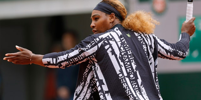 "On Monday, Williams arrived at the opening Roland Garros match a black-and-white striped warmup jacket with the words ""champion,"" ""queen,"" ""goddess"" and ""mother"" stamped on the design."