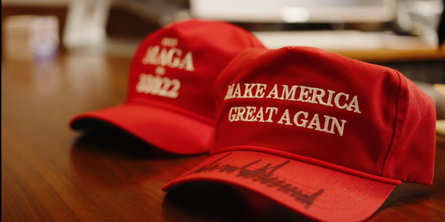 "The millionth ""MAGA"" hat produced by the campaign since 2015. The campaign had Trump sign it, and plans to give it away as part of a contest. (Zach Trinca/Fox News)."