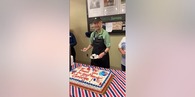 "For the last twelve years, the 87-year-old has worked at the supermarket, where he is affectionately known as ""Mr. George."""