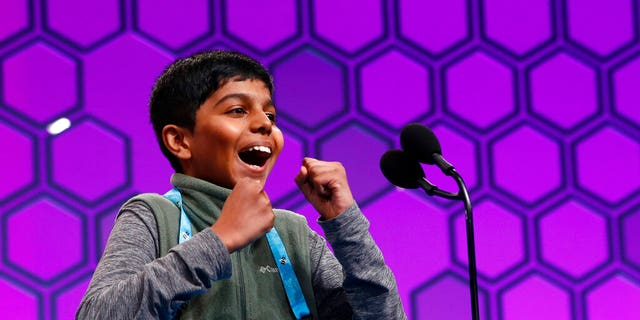 Sahil Langote, 13, of New Castle, Del., reacts after spelling a word incorrectly in the finals of the Scripps National Spelling Bee, Thursday, May 30, 2019, in Oxon Hill, Md. (Associated Press)