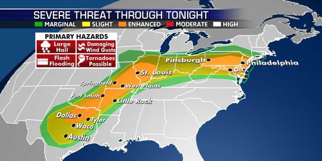 The threat for severe weather continues across the country on Wednesday.