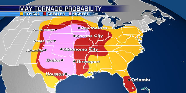 The areas most at risk of seeing tornadoes in May.