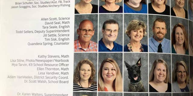 K-9 Mya, a school resource officer at Bryant High School in Arkansas, was featured in the school's yearbook.