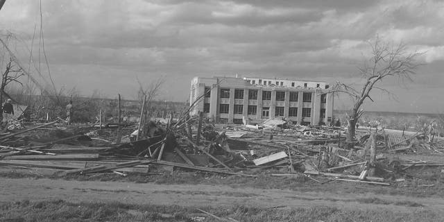 A view of the damaged Woodward County Courthouse building in Woodward, Okla. after the deadly tornado on April 9, 1947.