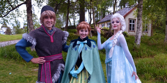 "Kristoff, Anna, and Elsa from Disney's ""Frozen"" at the Sunnmøre Museum in Ålesund, Norway."