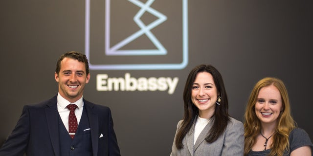 The team at Embassy Social, founders Zachary Taunton and Sydney Murphy and business associate Adele Fogle, founder ofAdele Designs.Photo credit:Nicolas Connelly.