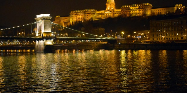 Budapest's Chain Bridge and Buda Castle from the Danube River.