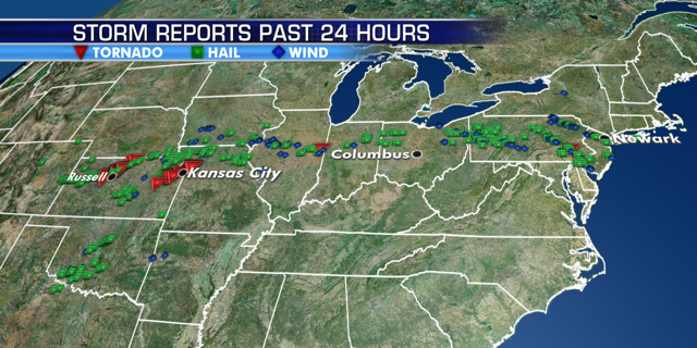 Storm reports on Tuesday stretched from the Kansas City metro area all the way to the Northeast.