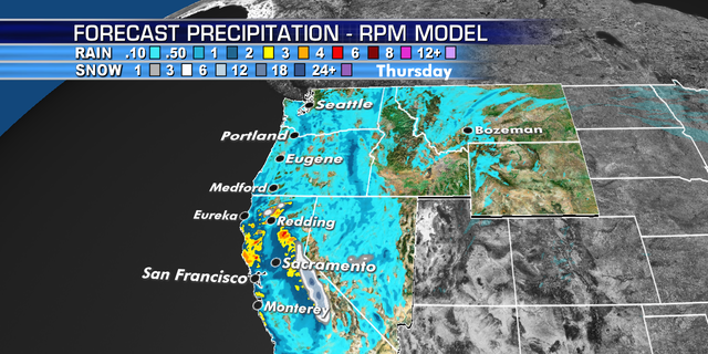 A series of storm systems brings heavy rain and mountain snow to California through the weekend.